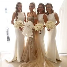 Super gorgeous bride and bridesmaids! Totally adore the simple and clean silhouette of the bridesmaids' dresses that create modern and chic look! Who agrees? Double tap if you do! Bride's Dress @steven_khalil / Florals @seedflora / Hair @aehair / MUA @makeupby_melissasassine Tag a friend who loves weddings! Follow the top wedding pages: @_FantasyWedding @WeddingDiary @TheBrideStory @WeddingDream
