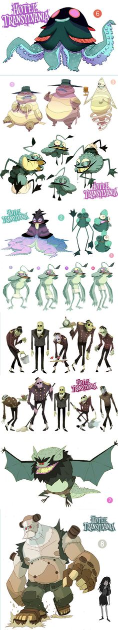 Fabien Mense's designs for Hotel Transylvania. So much acer than the film's real look.