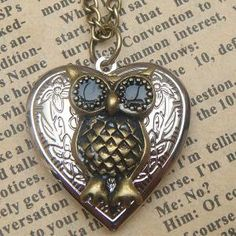 Steampunk  Owl 60502 Locket Necklace Vintage Style by sallydesign