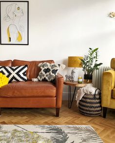 decor Mid century, scandi inspired living room with touches of yellow Yellow Living Room Furniture, Grey And Yellow Living Room, Scandi Living Room, Boho Chic Living Room, Living Room Furniture Arrangement, Living Room Sofa, Living Room Decor, Living Rooms, Mid Century Living Room