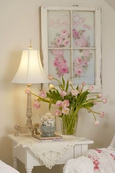 Hand painted pink flowers on an old window. ~PD~