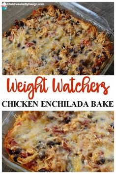 Weight Watchers Chicken Enchilada Bake is very easy to make and only 4 Freestyle SmartPoints per serving and the serving is a good size! Great Weight Watchers recipe for dinner. #casserole #WW #WeightWatchers #chicken Weight Watcher Desserts, Weight Watchers Lunches, Weight Watchers Meal Plans, Weight Watcher Dinners, Weight Watchers Diet, Weight Watcher Recipes Easy, Weight Watchers Appetizers, Weight Watcher Breakfast, Weight Watchers Recipes With Smartpoints