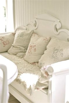 Shabby chic -   the embroidered linen pillow covers - good recycle idea and really pretty