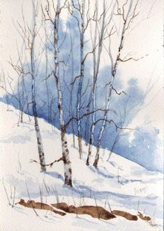 Franci's Snow Painting by Sam Sidders - Franci's Snow Fine Art Prints and Posters for Sale #LandscapingWatercolor