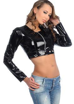 Black shiny pvc zipper compound long-sleeve short shirt sexy short gc04 women's