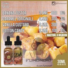 Premium E-liquids straight from the manufacturer Banana Juice Recipe, E Juice Recipe, Vaping, Diy Vape Juice, Vape Diy, Banana Foster, Clone Recipe, Coffee Cake, Snack Recipes