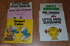Picture books by Roger Hangreaves, paperback lot of 4, Little Miss, Smurfs,