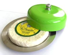 CHEESE DISH Butter Keeper Saver (Green) CHEESE KEEPER Quesera Dish with Dome Cover STAINLESS STEEL by Polymerose. $6.95. Best quality kitchen accessories. Keeps cheese fresh longer.  Holds most of the standard sized cheeses.. Measurements of the cheese dish in inches: Diameter: 6.3 H: 2 (including top knob) Capacity: Carries almost all types of wheel cheese, wedge cheese and queso fresco.  We invite you to see all the POLYMEROSE silicone molds: Just type POLYMEROSE...
