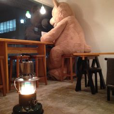 galleria_salone  cafe big bear teddy shop manager  DIY handmade craft work long table counter stove & steel kettle
