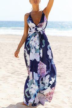 Sleeveless Flower Printed High Waist Beach Dress