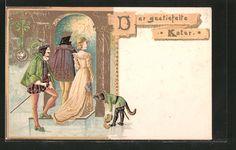 Alte Ansichtskarte: Präge-Lithographie Der gestiefelte Kater, Kater an der Eingangstür
