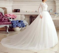 Free Shipping Romantic Lace up Ball Gown V Neck Long Sleeve Fashionable Wedding Dresses Bridal Gowns Dresses Bride Dresses