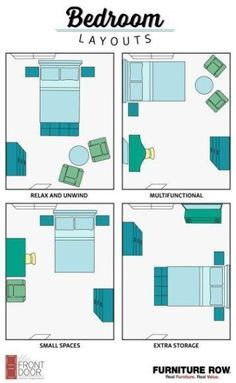 This Bedroom Layout Guide has four bedroom layouts to show how to arrange your b. This Bedroom Layout Guide has four bedroom layouts to show how to arrange your bedroom furniture. Maximize relaxation, storage, and small spaces in style! Bedroom Apartment, Room Decor Bedroom, Home Bedroom, Apartment Living, Budget Bedroom, Apartment Furniture Layout, Apartment Design, Apartment Layout, Living Rooms