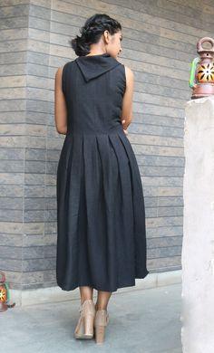Maxi dress for women/Black linen dress/ Linen pleated image 2 Linen Dresses, Cotton Dresses, Dresses Dresses, Girls Dresses, Wedding Dresses, Baby Boys, Casual Frocks, Casual Dresses, Formal Outfits