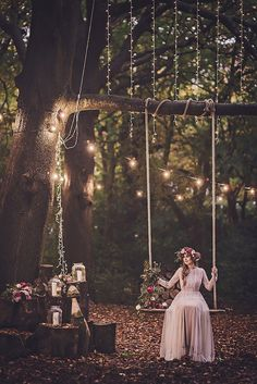 Magical Midsummer Night's Dream wedding inspiration- be amazing to have a swing like this next to lights Wedding Goals, Wedding Themes, Boho Wedding, Fall Wedding, Wedding Styles, Rustic Wedding, Wedding Venues, Wedding Planning, Dream Wedding