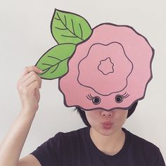 flower pink head photobooth photoprops