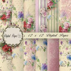 Digital Background Scrapbooking Paper Decoupage by digitalpaperetc