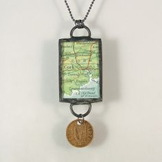 Cork Ireland Map and Coin Pendant Necklace by XOHandworks $30