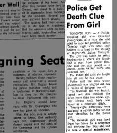 Clipping found in The Brandon Sun in Brandon, Manitoba, Canada on Aug Police Get Death Clue From Girl Got Him, Police, Death, Law Enforcement