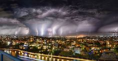 Australia has been experiencing freak weather in recent weeks and lightning was seen spectacularly flashing east of Kangaroo Point in Brisbane on Sunday night Brisbane Australia, Australia Travel, Amazing Photography, Nature Photography, Photography Tips, Portrait Photography, Wedding Photography, Cool Pictures, Beautiful Pictures