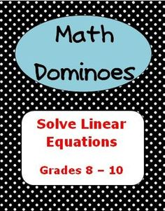 This game is a fun way for your students to practice solving linear equations. Math Teacher, Math Classroom, Teaching Math, Teaching Ideas, Math Strategies, Math Resources, Math Activities, Algebra Lessons, Maths Algebra