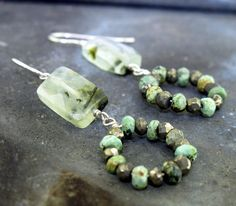 Gemstone Earrings with prehnite turquoise and by KathrynRiechert
