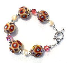 Lampwork Glass Bead Bracelet with Mother of Pearl by ASplashOGlass