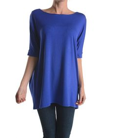 This Royal Blue Boatneck Tunic by Emma's Closet is perfect! #zulilyfinds