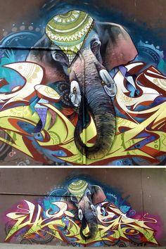 cool elephant street art