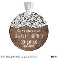 Shop Rustic Country Our First Christmas Together Ornament created by special_stationery. First Christmas Together Ornament, Diy Christmas Tags, Christmas Gift Decorations, Personalized Christmas Gifts, Rustic Christmas, All Things Christmas, Christmas Themes, Christmas Fun, Xmas Holidays