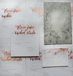 A Peek into the Studio – Rose Gold Foil and Blind Letterpress Floral Wedding Invitations