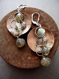 Gypsy earrings with Labradorite  Copper and by dnajewelrydesigns, $44.00