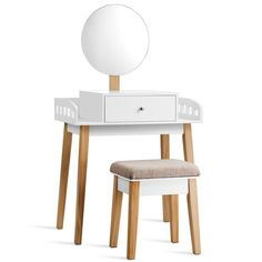 EnjoyShop Wooden Makeup Dressing Mirror Table Set with 1 Drawer Sturdy and Durable Construction Elegant Design Bedroom Useful Furniture Makeup Products and Accessories Organizer Home Decor Makeup Dressing Table, Dressing Table With Stool, Dressing Mirror, White Vanity Set, Vanity Table Set, Dresser Table, Dresser Sets, Mirror Drawers, Desk With Drawers