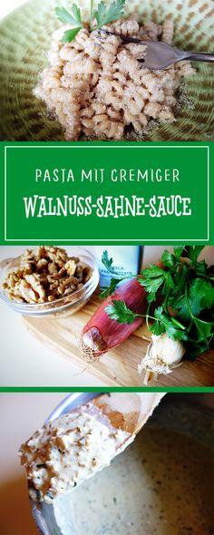Pasta mit cremiger Walnuss-Sahne-Sauce - ein herrlich cremig-nussiges und vor allem einfaches Rezept für eine schnelle, glutenfreie und vegetarische Pasta! 🍴🇮🇹 | cucina-con-amore.de