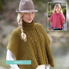 FREE Hayfield poncho pattern - LoveKnitting blog Sizes child 4 to adult