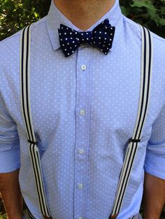Mambo Bow Tie. Polkadots on Polkadots with Striped Suspenders. Modern Bow Ties for the Modern Man. Made in the USA