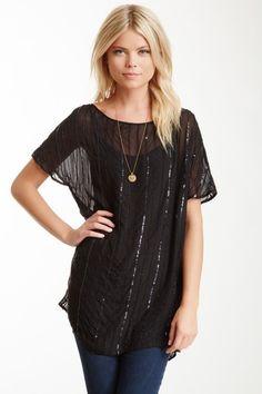 Short Silk Sequin Tunic Dress