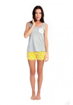 Hot Like a Sunrise stretchy pyjama shorts, worn with Watch Your Back Scoop singlet in grey. Available from www.thegoodnightsociety.com.au