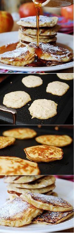 Apple cinnamon yogurt pancakes. Filled with shredded apples, spiced with cinnamon & vanilla! Great idea for Sunday breakfast or brunch!