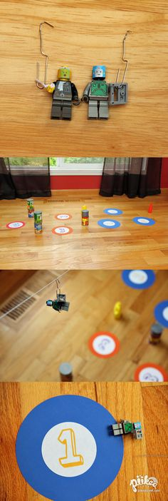Zipline Target Game with Lego Minifigures. An Original #kids #craft by www.piikeastreet.com #piikeastreet