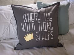 Kid Pillow Cover ~ 20x20 inch Kids Custom Sham ~ baby boy bedding ~ Where the Wild things are Bedroom ~ Crown pillow ~ boy room decor
