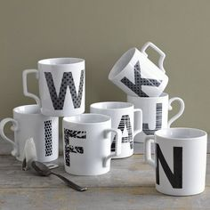 Alphabet Mugs | west elm.... i only have one!!! They are out of the R's S's and J's....Boo hoo.