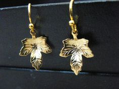Small Gold Maple Leaf Dangle Earrings! Minimalist, Gold Plated, Maple Leafs, Gold Filled Fish Hooks, Girls, Teens, Women, Mother's Day Gift