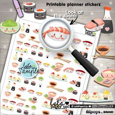 60%OFF  Sushi Stickers Printable Planner Stickers Food