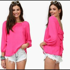 😀 Just In Beautiful  Pink Chiffon Blouse 💕 👄 (BRAND NEW) Just In!!   Beautiful Hot Pink Ladies Chiffon Long Sleeve Sexi Loose Blouse!  (NO TRADES SORRY) Unbranded Tops Blouses