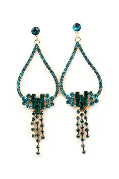 Paris Green Crystal Oli Earrings on Emma Stine Limited