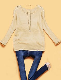 Beige Long Sleeve Hollow Shoulder Embroidery Sweater