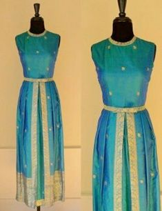 Vintage Queen of The Peacocks Gown / Maxi Dress / Teal & Gold Silk Sari Custom Couture Cocktail Dress Saris, Silk Sarees, Saree Gown, Sari Dress, Anarkali Dress, Lehenga, Sari Blouse, Long Gown Dress, The Dress