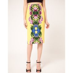Asos Pencil Skirt In Mirror Floral Print ($64) ❤ liked on Polyvore