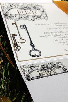 Vintage Style Key Wedding Invitation